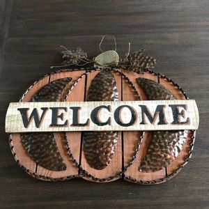 Other - Wooden Metal Pumpkin Shaped Welcome Sign Decor